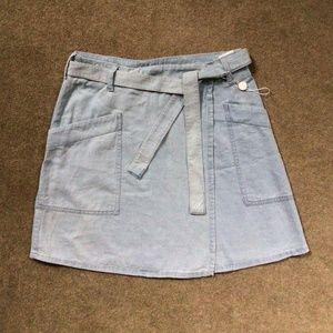 MM6 pale blue denim pocket wrapped skirt